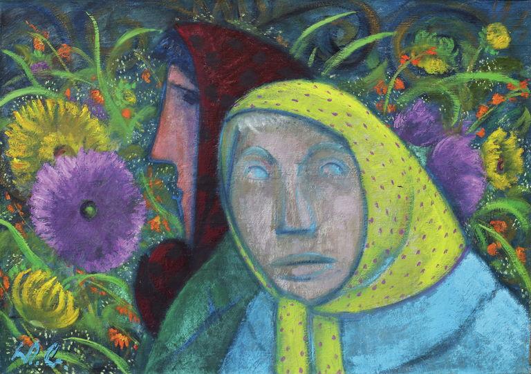 Frauen vor Blumen