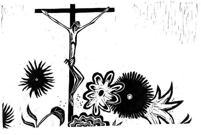 Kruzifix und Blumen