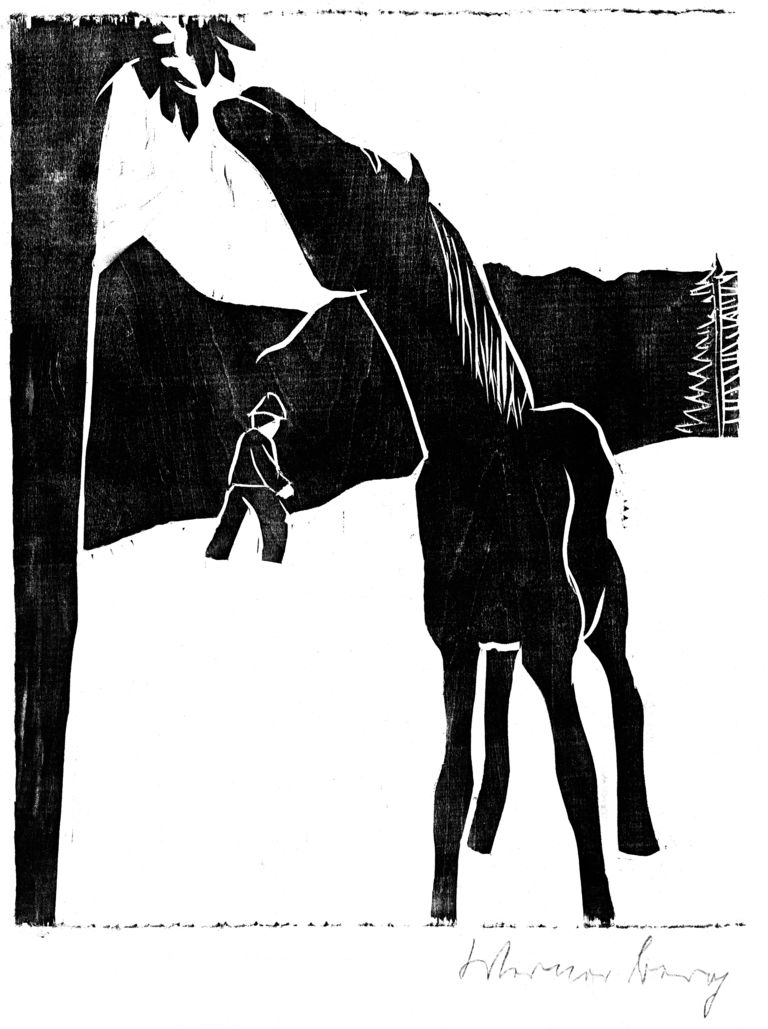 Konj, ki žre z drevesa
